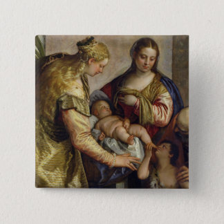 The Holy Family with St. Barbara, c.1550 (oil on c 15 Cm Square Badge