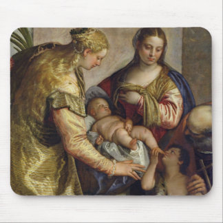 The Holy Family with St. Barbara, c.1550 (oil on c Mouse Pad