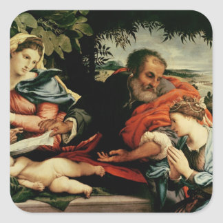 The Holy Family with St. Catherine of Square Sticker