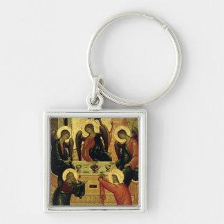 The Holy Trinity, Novgorod School, 15th century Silver-Colored Square Key Ring