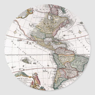 The Homanns Heirs Map of The Americas Round Sticker