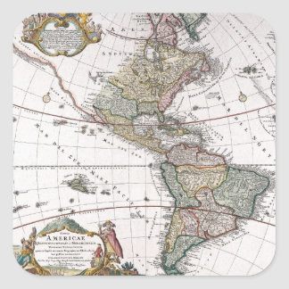 The Homanns Heirs Map of The Americas Square Sticker