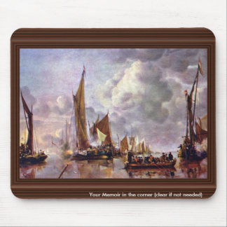 The Home Fleet Saluting The State Barge. By Jan Va Mouse Pad