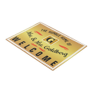The Home of (Your Name) - Monogram (editable) Gold Doormat