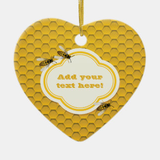 The Honeycomb and Bees Ceramic Heart Decoration