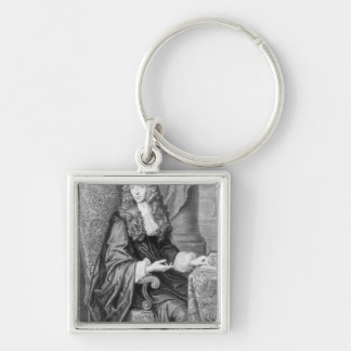 The Honorable Robert Boyle engraved by B. Baron Silver-Colored Square Key Ring