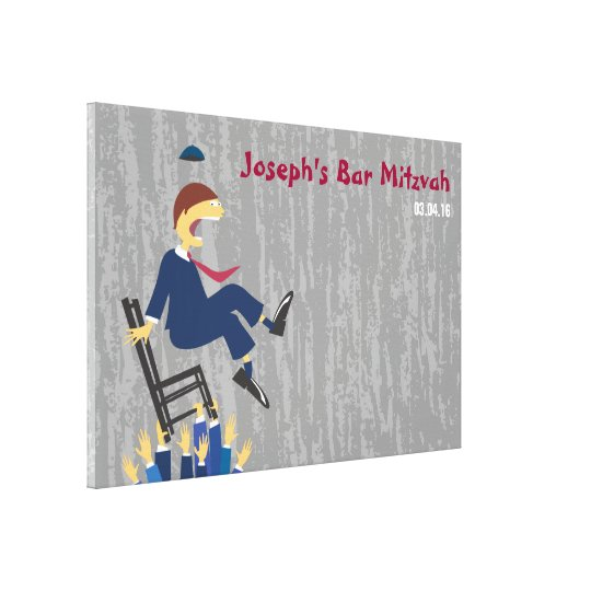 The Hora Chair Dance Bar Mitzvah Sign-In Board Canvas Print