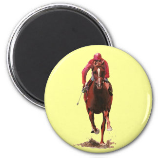 The Horse and Jockey 6 Cm Round Magnet