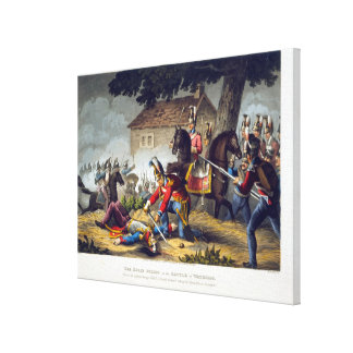 The Horse Guards at the Battle of Waterloo, engrav Canvas Print