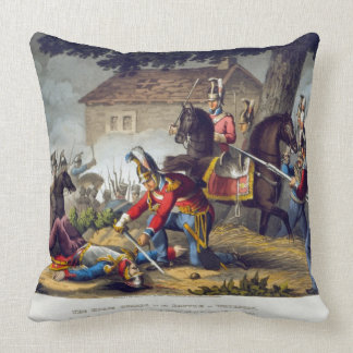 The Horse Guards at the Battle of Waterloo engrav Throw Pillow