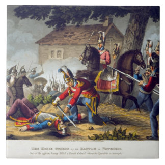 The Horse Guards at the Battle of Waterloo, engrav Large Square Tile