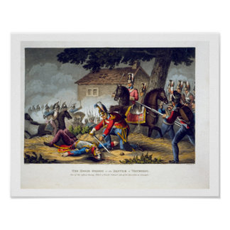 The Horse Guards at the Battle of Waterloo, engrav Poster