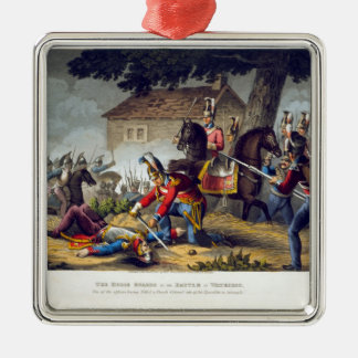 The Horse Guards at the Battle of Waterloo, engrav Silver-Colored Square Decoration