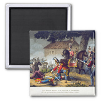 The Horse Guards at the Battle of Waterloo, engrav Square Magnet