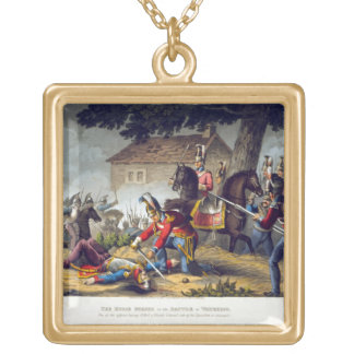 The Horse Guards at the Battle of Waterloo, engrav Square Pendant Necklace