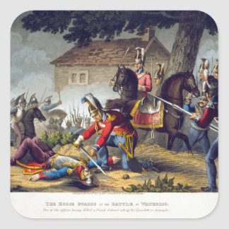 The Horse Guards at the Battle of Waterloo, engrav Square Sticker