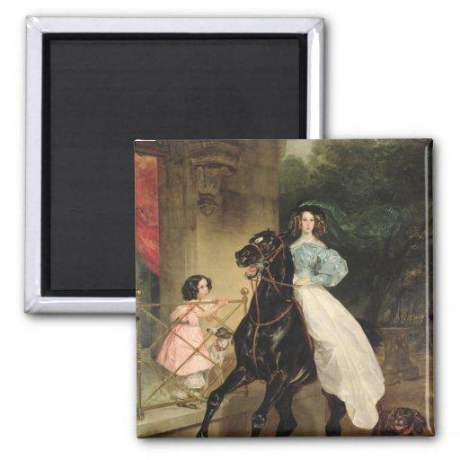 The Horsewoman, Portrait of Giovanina Fridge Magnets