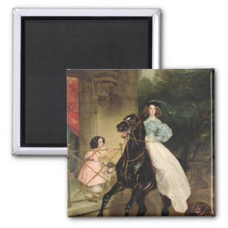 The Horsewoman, Portrait of Giovanina Square Magnet