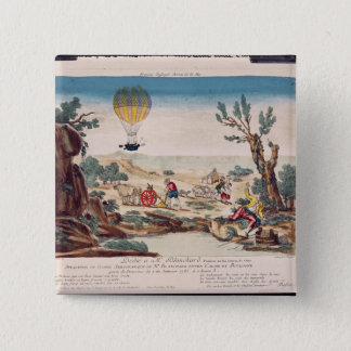 The Hot-Air Balloon of Jean Pierre Blanchard 15 Cm Square Badge