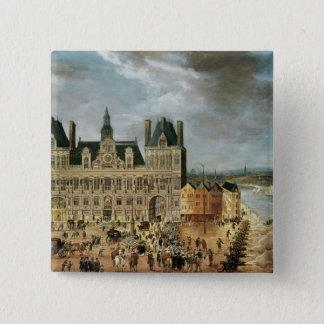 The Hotel de Ville, Place de Greve 15 Cm Square Badge
