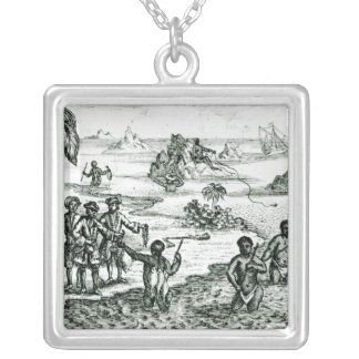 The Hottentot Manner of Fishing Silver Plated Necklace