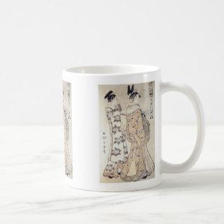 The Hour of the Monkey, Utamaro, 1780 Basic White Mug