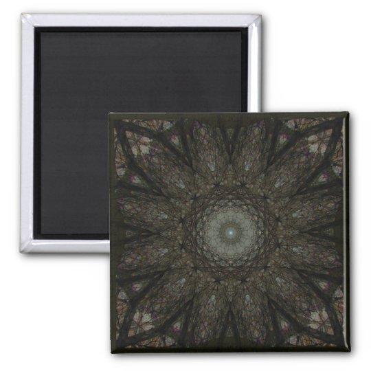 The Hours Square Clock Mandala Square Magnet