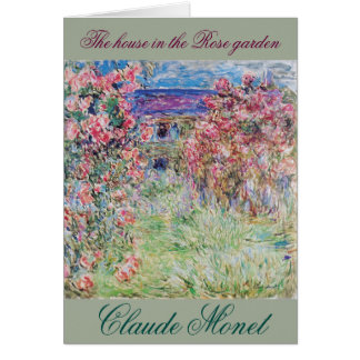 The house in the rose garden by Claude Monet, Greeting Card