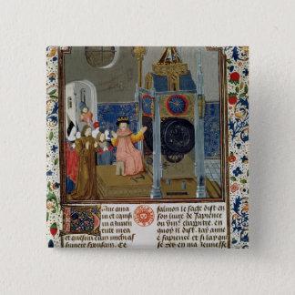 The household admiring the master's rare clock 15 cm square badge
