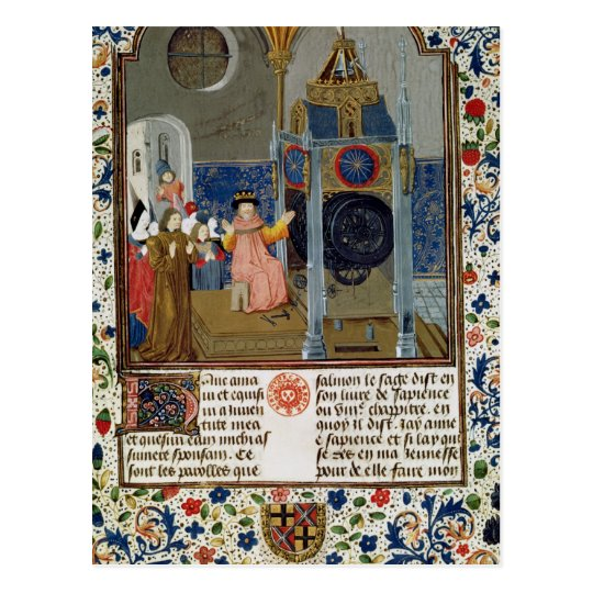 The household admiring the master's rare clock postcard