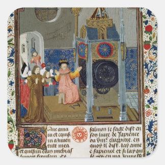The household admiring the master's rare clock square sticker