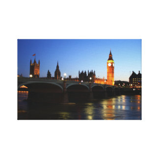 The Houses of Parliament and Big Ben nightime Gallery Wrapped Canvas