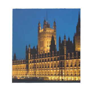 The Houses of Parliament at night in the city of Notepad