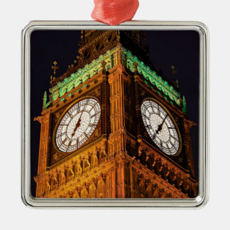 The Houses of Parliament clock tower, Westminster Silver-Colored Square Decoration