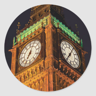 The Houses of Parliament clock tower, Westminster Round Sticker