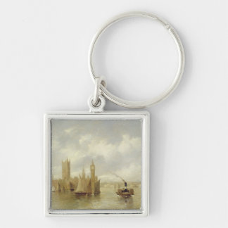 The Houses of Parliament Silver-Colored Square Key Ring
