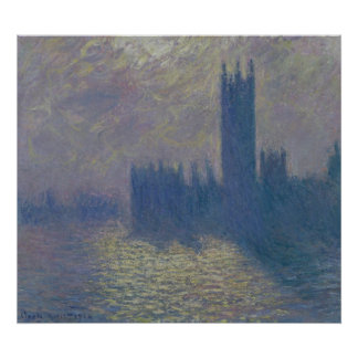 The Houses of Parliament, Stormy Sky, 1904 Poster