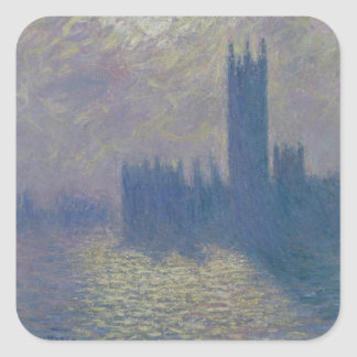 The Houses of Parliament, Stormy Sky, 1904 Square Stickers