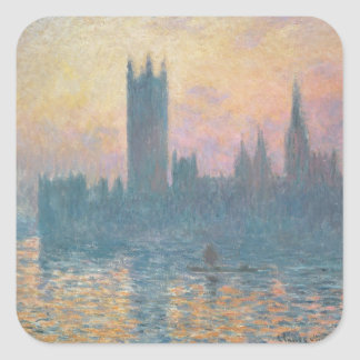 The Houses of Parliament, Sunset, 1903 Square Sticker