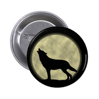 The Howling Wolf in the Night 6 Cm Round Badge