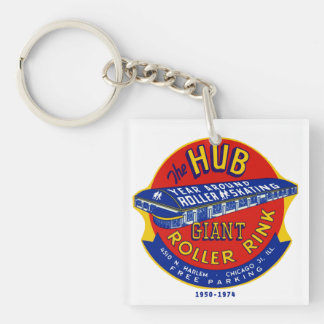 The Hub Roller Rink Chicago / Norridge Illinois Double-Sided Square Acrylic Key Ring