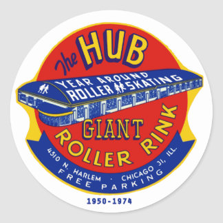 The Hub Roller Rink Chicago / Norridge Illinois Round Sticker