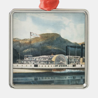 The Hudson River Steamboat `St. John' Silver-Colored Square Decoration