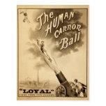 The Human Cannon Ball Vintage Circus Act Victorian Postcard