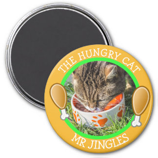THE HUNGRY CAT Humourous Pawprints Photo Button 7.5 Cm Round Magnet