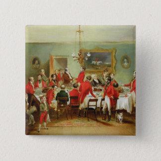 The Hunt Breakfast, Bachelor's Hall, 1836 (oil on 15 Cm Square Badge