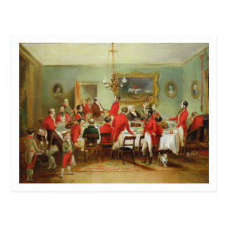 The Hunt Breakfast, Bachelor's Hall, 1836 (oil on Postcard