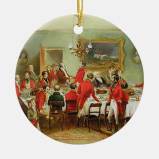 The Hunt Breakfast, Bachelor's Hall, 1836 (oil on Round Ceramic Decoration