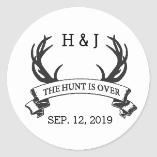 """The Hunt is Over"" Rustic Custom Wedding Favors Classic Round Sticker"