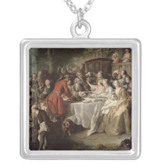 The Hunt Lunch, detail of the diners, 1737 Silver Plated Necklace